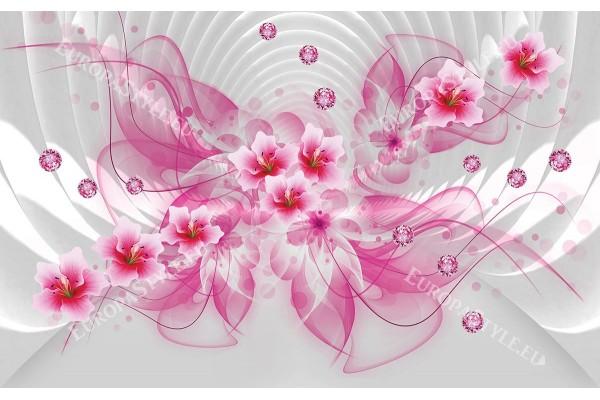 Фототапет 3д абстракция с цветя и розови диаманти