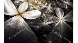 Фототапет абстракция цветя черно-бели