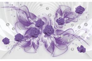 Фототапет 3д абстракция с лилави рози и диаманти