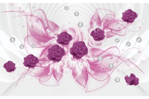 Фототапет 3д абстракция с лилави рози и диаманти в 2 цвята