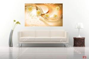 Фототапет композиция от рози и орнаменти в оранжева гама