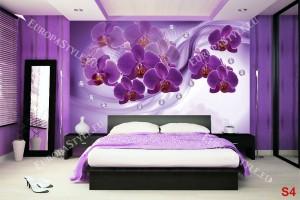 Фототапети композиция в лилаво с орхидеи и диаманти