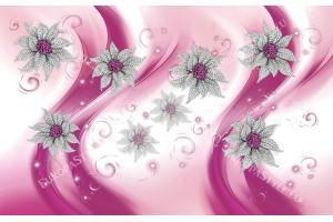 Фототапети 3д диамантени бижута цветя в циклама