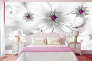 Фототапети 3д диамантени цветя на нежно сив фон