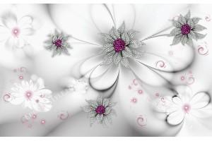 Фототапет-30% размер 414 см-260 см - диамантени цветя бял