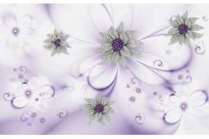 Фототапети 3д диамантени цветя на нежно сив и лилав фон