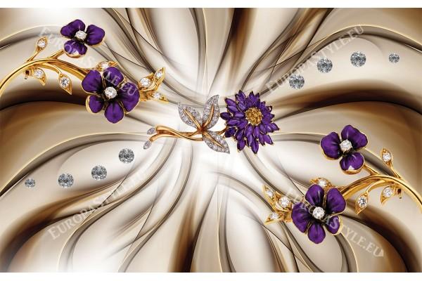 композиция с диамантени лилави цветя в 2 варианта