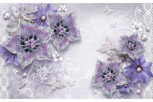 диамантени бижута в лилаво с пеперуди и перли
