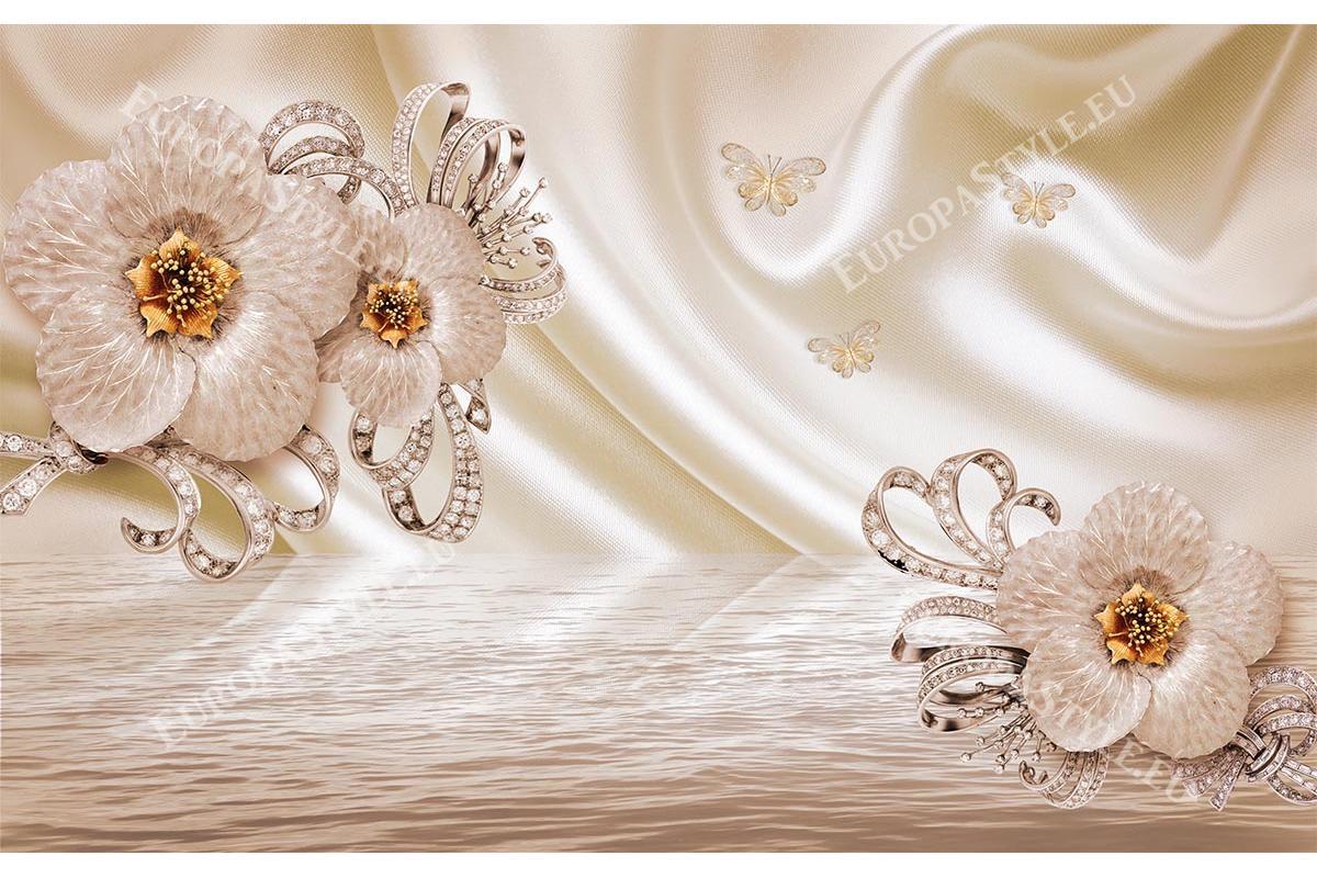Цветя с орнаменти, диаманти