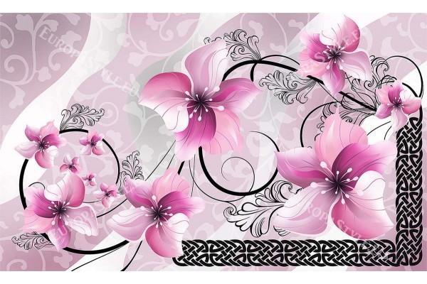 рисувани цветя в розово и черни орнаменти