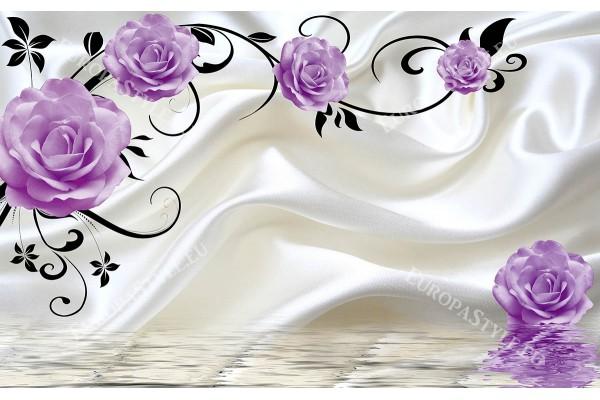розови или лилави рози на фон бяла коприна 2 цвята