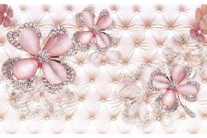 диамантени цветя на тапицирана кожа коралов нюанс