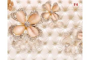 диамантени цветя на тапицирана кожа бежов нюанс