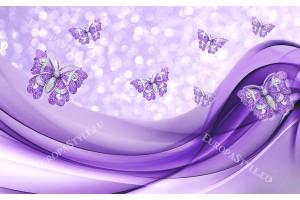 абстракт с диамантени пеперуди в лилаво и златисто