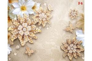 диамантени цветя на бежова релефна основа