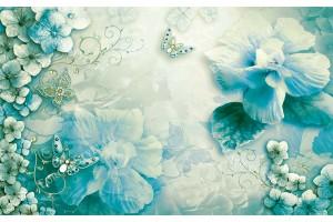 нежна флорална композиция в цвят тюркоаз и пеперуди