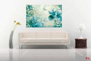 Фото тапети нежна флорална композиция в цвят тюркоаз и пеперуди