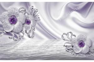 диамантени цветя с лилав акцент на коприната