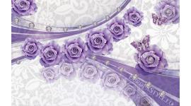 абстрактни линии с лилави и тюркоазени рози и диаманти