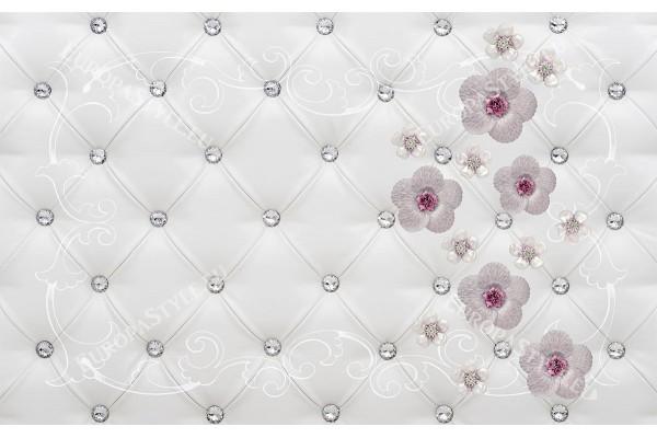 имитация тапицирана кожа с диаманти и цветя в 2 цвята