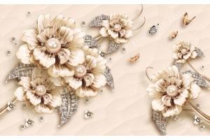 Фототапети порцеланови цветя с диаманти с големи перли в 2 варианта
