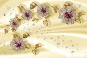 Фототапети диамантени цветя със златни листа на жълт фон