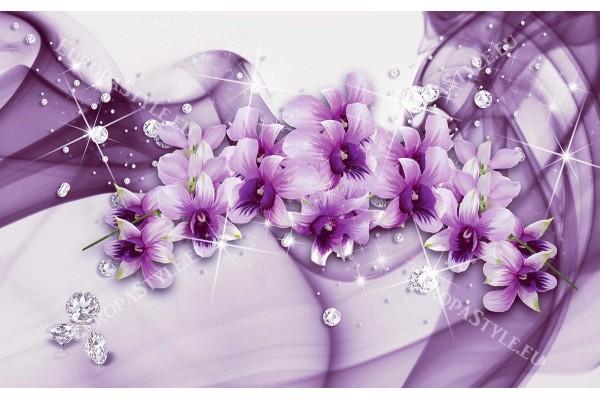 Фототапети лилави орхидеи абстракт с декорация и диаманти