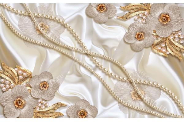 Фототапет цветя с златисти орнаменти и бели перли