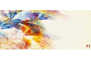 Фототапет орнаменти пера в бежова гама в 2 цвята