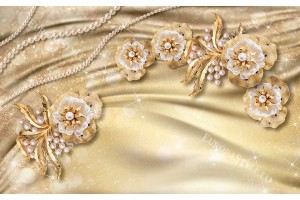 Фототапет фототапет златисти цветя с перли нов модел