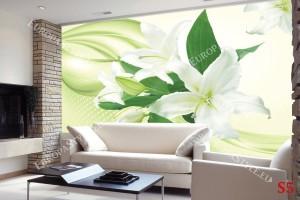 Фототапети бели лилиуми на абстрактен фон в 2 цвята
