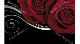 Фототапет червени рози на черен фон с бял орнамент