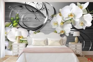клонки бели орхидеи на геометричен фон