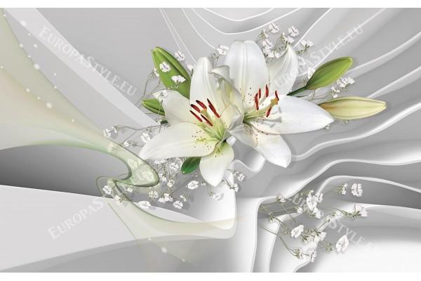 Фототапет елегантен 3д ефект с бели лилиуми