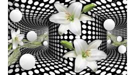 Фототапет тунел в черно и бяло с бял лилиум и сфери
