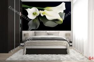 Фототапети бели калии на черен фон огледален