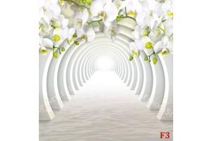 Фототапет 3D тунел с арка от бели орхидеи