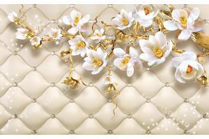 Фототапет 3D цветя на фон тапицирана кожа с диаманти