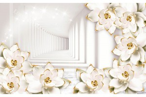 Фототапет тунел с бели 3д порцеланови цветя
