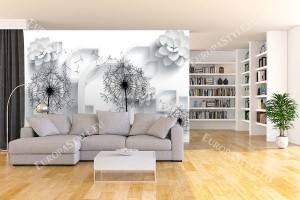 Фототапети 3D ефект флорална геометрия в бяло и черно