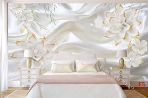 Фототапети порцеланови нежни цветя на бял сатен