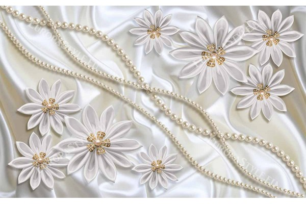 Фототапет нежни маргаритки с перлена декорация и 3д ефект 2 цв.