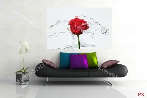 Фототапети червена роза с водни пръски