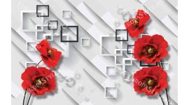 фототапети модерен разбита стена с червени-цветя макове