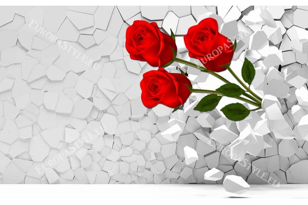 Фототапети 3d ефект на геометрична стена с червени рози