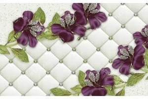 Фототапет големи цветя на тапицирана кожа с 3д ефект в 2 цвята