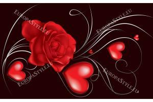 Фототапет рози абстракт в 2 цвята розов и червен