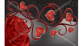 Фототапет абстракция  рози и червени сърца