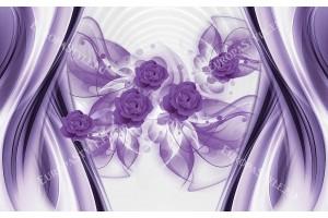 Фототапети лилави рози на бял фон с декорация вълни