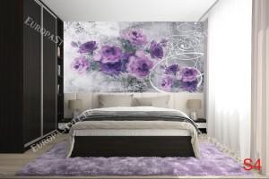 Фототапети лилави рози арт на фон в 2 варианта